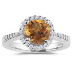0.20 Cts Diamond & 0.67 Cts Citrine Ring in 14K White Gold
