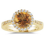 0.17 Cts Diamond & 0.39 Cts Citrine Ring in 18K Yellow Gold