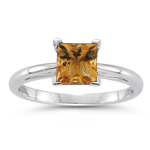 0.89 Cts Citrine Solitaire Ring in 14K White Gold