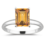 1.09 Cts Citrine Solitaire Ring in 18K White Gold