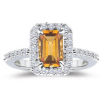 0.50 Cts Diamond & 3.27 Cts Citrine Ring in Platinum