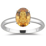 0.60 Cts Citrine Solitaire Ring in 18K White Gold
