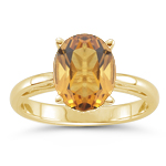 0.99 Cts Citrine Solitaire Ring in 18K Yellow Gold