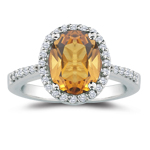 0.30 Cts Diamond & 4.01 Cts Citrine Ring in Platinum