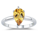1.52 Cts Citrine Solitaire Ring in 14K White Gold
