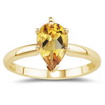 0.54 Cts Citrine Solitaire Ring in 14K Yellow Gold