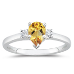 0.10 Cts Diamond & 1.00 Cts Citrine Classic Three Stone Ring in 14K White Gold