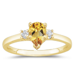 0.10 Cts Diamond & 1.00 Cts Citrine Classic Three Stone Ring in 18K Yellow Gold