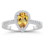 0.22 Cts Diamond & 0.62 Cts Citrine Ring in 14K White Gold