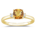 0.10 Cts Diamond & 1.06 Cts Citrine Classic Three Stone Ring in 14K Yellow Gold
