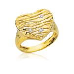 Cubic Zircon Heart Ring in 14K Yellow Gold