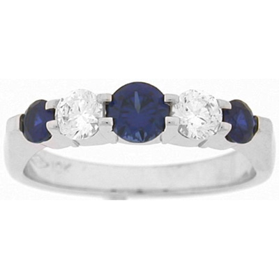 Five-Stone Rings - 0.30 Carat Diamond and Sapphire Five Stone Ring