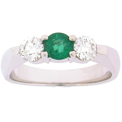 Three-Stone Rings - 0.40 Diamond and Emerald Three Stone Ring