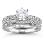 0.31 Ct Diamond Ring Setting & Matching Band in 18K White Gold