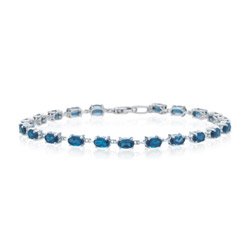 6.12 Cts London Blue Topaz Bracelet in 14K White Gold