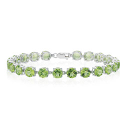 18.71-18.80 Cts Peridot Bracelet in 14K White Gold