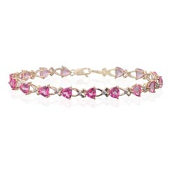 0.08 Ct Diamond & 8.8 Cts Pink Topaz Bracelet in 14K Yellow Gold