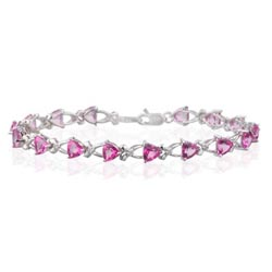0.08 Ct Diamond & 8.8 Cts Pink Topaz Bracelet in 14K White Gold