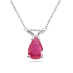 0.59 Cts Ruby Solitaire Pendant with 14K White Gold