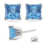 2.38 Cts Swiss Blue Topaz Scroll Stud Earrings in 14K White Gold