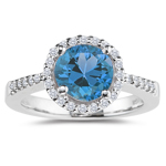 0.26 Cts Diamond & 4.01 Cts Swiss Blue Topaz Ring in Platinum