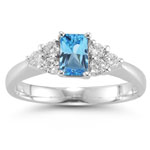 0.60 Cts Diamond & 5.89 Cts Swiss Blue Topaz Ring in Platinum