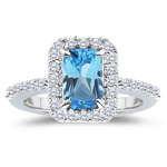 0.50 Cts Diamond & 4.37 Cts Swiss Blue Topaz Ring in Platinum