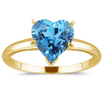 0.89 Cts Swiss Blue Topaz Solitaire Ring in 14K Yellow Gold