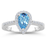 0.23 Cts Diamond & 2.03 Cts Swiss Blue Topaz Ring in Platinum