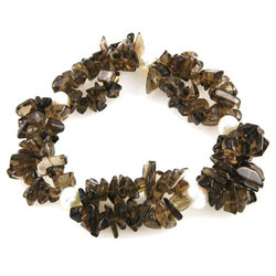 Smokey Quartz & Cultured Pearl Stretchable Bracelet