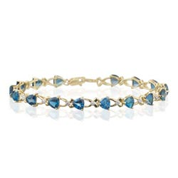 0.08 Ct Diamond & 8.8 Cts London Blue Topaz Bracelet in 14K Yellow Gold