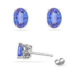 0.78-1.10 Cts of 6x4 mm AA Oval Tanzanite Stud Scroll Earrings in Platinum