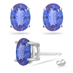 0.50 Cts of 5x3 mm AA Oval Tanzanite Stud Earrings in 14K White Gold