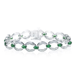 1.46-1.55 Cts Diamond & 4.01 Cts Tsavorite Bracelet in 14K White Gold