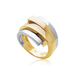 Overlapping Twin Gold Ring in 14K Two Tone Gold