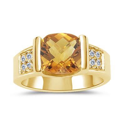 CITRINE RING - SQUARE CHECKERBOARD CITRINE & DIAMOND RING