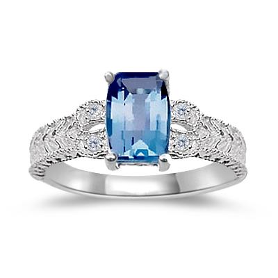 BLUE TOPAZ RING - BARREL CUT BLUE TOPAZ & DIAMOND LADIES WHITE RING