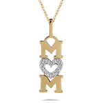 Diamond Mom Heart Pendant in 14K Yellow Gold
