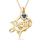 Mom Pendant - Diamond & Blue Topaz Mom Pendant in 14K Gold
