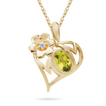 0.01 Cts Diamond & 0.50 Cts Peridot Mom Pendant in 14K Gold