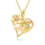Diamond & 0.50 Ct Yellow Sapphire Heart MOM Pendant in 14K Yellow Gold