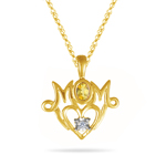 Sapphire Pendant - Mom Pendant with Yellow Sapphire in 14K Gold