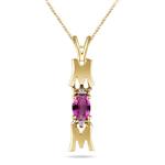 Garnet Pendant - Diamond & Garnet Mom Pendant in 14K Gold