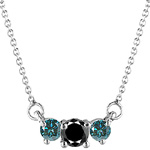 0.83 Cts Black & Teal Blue Diamond Three Stone Pendant in 18K White Gold