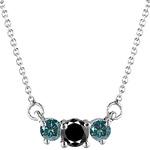 0.83 Cts Black & Teal Blue Diamond Three Stone Pendant-18K White Gold