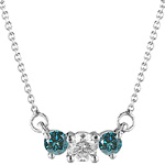 3/4 Cts Three Stone White & Blue Diamond Pendant in 18K White Gold