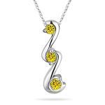 1/4 Cts Yellow Diamond Three Stone Pendant in 18K White Gold