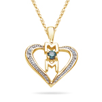 0.12 Cts Blue & White Diamond Mom Heart Pendant in 14K Yellow Gold