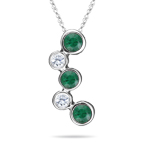 0.40 Cts Diamond & Natural Emerald Bubble Pendant in 18K White Gold