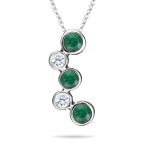 0.40 Cts Diamond & Natural Emerald Bubble Pendant in 18K White Gold